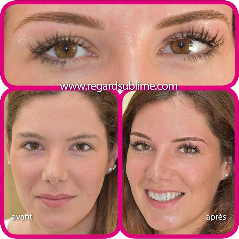 Teinture des sourcils avant-après